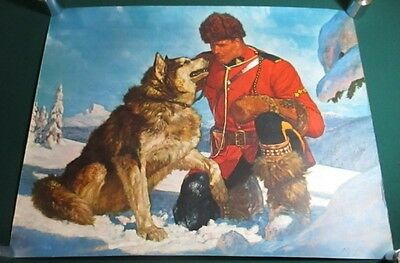 Original c1955 Canadian Mountie RCMP in Snow with Sled Dog Friberg Print