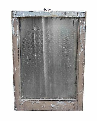 Single Panel Pebbled Chicken Wire Glass in Galvanized Metal Window Frame