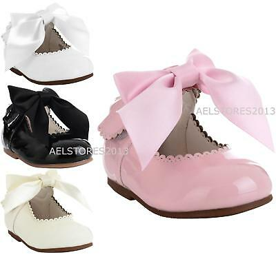 Girls Bridesmaids Bow Ribbon Party Shoes Patent Shoes Infant Sizes UK 1,3,5,7,10