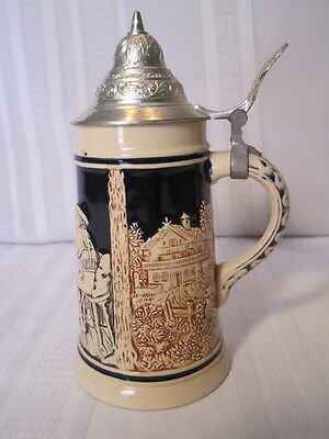 "Vintage German Lidded Marzi Remy Beer Stein  - 7 1/4"" Tall - Lid Marked DRM"