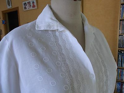 CHEMISIER FEMME CHEMISE T38/40 VINTAGE 60 WOMAN WHITE COTTON SHIRT BLOUSE sizeM