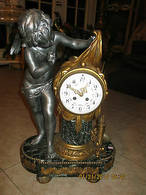 Antique French Figural Putti statue Bronze/Iron finish metal/Marble Mantel Clock