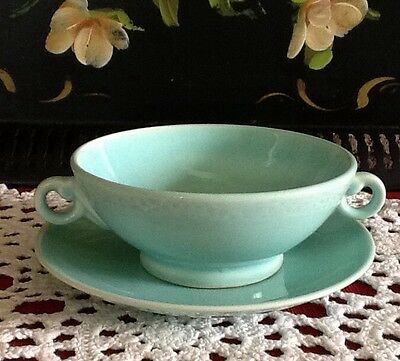 LURAY PASTELS  Green Handled Cream Soup 1941 Footed Vintage Bowl & Saucer ~Rare~