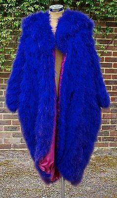 A Vintage 1940's French Couture Royal Blue Ostrich Feather Opera Coat