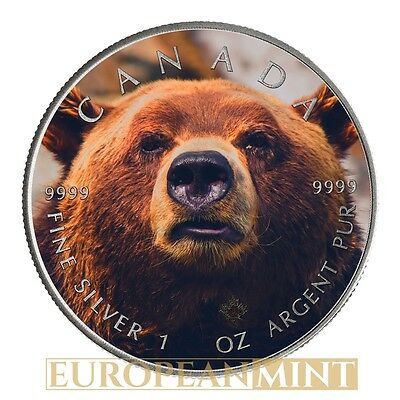 2015 1oz $5 Canadian 9999 Fine Silver Maple Grizzly Bear Flag Colorized Antique