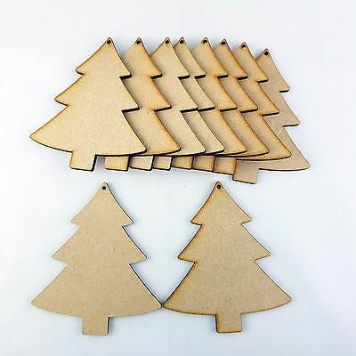 10x Wooden MDF Christmas Tree Shape. Craft blank embellishment tag xmas gift