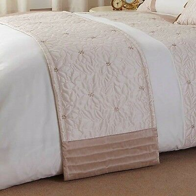 QUILTED EMBROIDERED BED RUNNER 50X200cm GOLD / CREAM ***£6.99 SPECIAL OFFER***