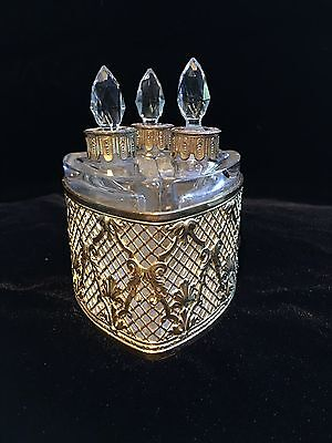 French Scent Caddy Gilt Ormolu 3 Faceted Stoppers Bottles
