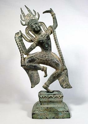 Antique Cambodian Khmer Bronze Dancer Statue 18th/19th Century 34cm
