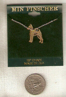 "Miniature Pinscher MinPin Goldtone Necklace Pendant 18"" Chain Jewelry"