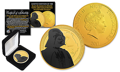 2017 NZM 1 oz Silver STAR WARS Coin 24K Gold Clad w/ BLACK RUTHENIUM DARTH VADER