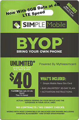Simple Mobile Nano Sim Card With Free $40 Plan Included 6GB Data Upto 4G Speed