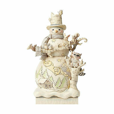 Jim Shore Heartwood Creek White Woodland Snowman Statue 4058733 NEW NIB  17.5""