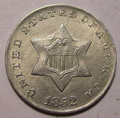 1852   3 Three Cent Silver Trime Id#k234