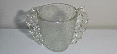 Pierre D'Avesn frosted 'Glue Chip' handled art glass vase deco French nouveau