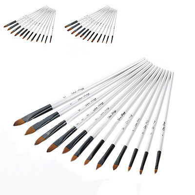 12Pcs Nylon Hair Watercolor Acrylic Oil Paint Brush Artists Brushes for Children