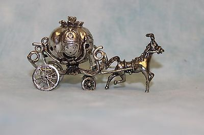 800 Silver pumpkin shaped coach for Cinderella 2-1/2 Long Horse pulling Pumpkin!
