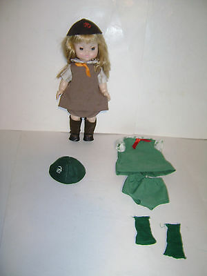 """Vintage Effanbee 1966 11"""" Girl Scout Brownie Doll Blonde 11-944 Extra Outfit"""