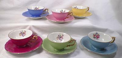 Victoria Czechoslovakia Demitasse Set 6 Cups & Saucers Porcelain Multi Color