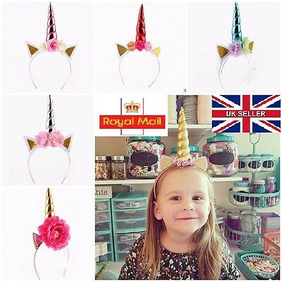 Decorative Unicorn Horn Headband Fancy Dress Party Magical Ear Hairband UK