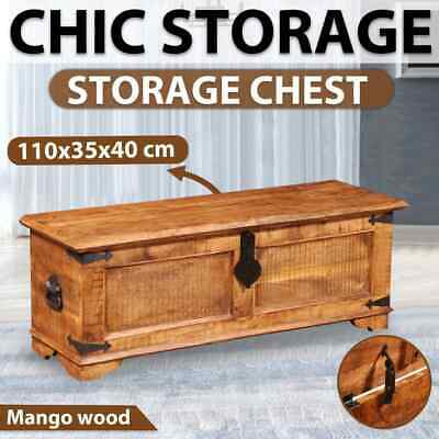 Rough Mango Wood Storage Chest Trunk Solid Durable Handmade Unique Coffee Table