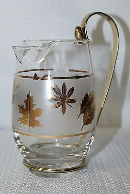 Vintage 1960 Libbey Glamorous Golden Foliage 16 Oz Pitcher With Metal Handle