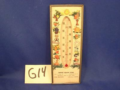 G14 VINTAGE EMPIRE LIQUOR STORE THERMOMETER JAMAICA NEW YORK 105th & 106th