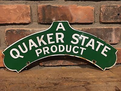 Original Double Sided Porcelain Quaker State Sign Globe Topper Gas Pump Oil