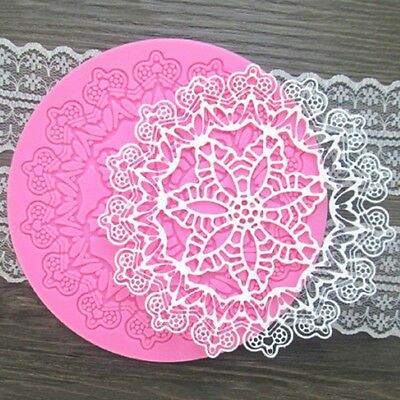 Round Shape Silicone Sugar Craft Fondant Mold Mould Lace Gumpaste Mat Cake Decor