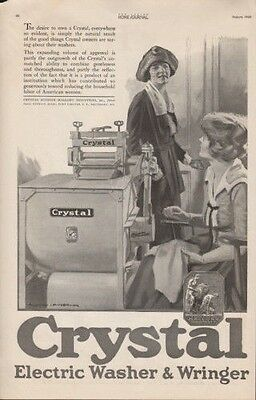 1920 Crystal Electric Wringer Home Appliance Woman Ad 9544