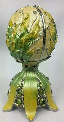 Rue Moliere Yellow Green Flowers Music Box Collection Egg
