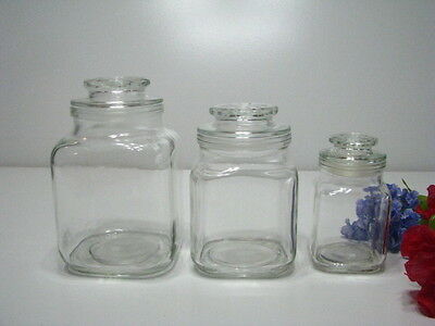 ANTIQUE GLASS APOTHECARY JARS (3) - CANDY DISPLAY JARS - Canisters