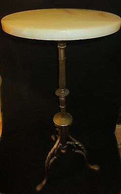 Rare Antique Brass/bronze Base Marble Top Plant Stand/end Table
