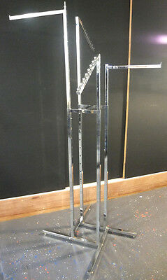 Used CLOTHING RACK 4 arms CHROME adjustable retail shop fitting fashion clothes