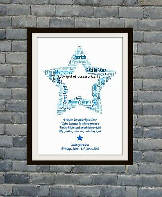 Personalised Star Baby Grave Memorial Remembrance Word Art Print *Child Loss*