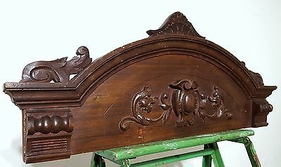 Hand Carved Wood Pediment Antique French Griffin Salvaged Mount Cornice Crest