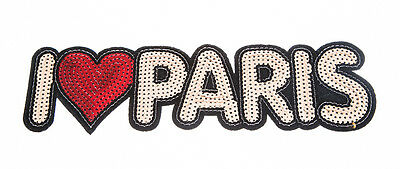 I LOVE PARIS Craft Sequin Embroidered Patch Sew Iron-On Patch Ready Made New
