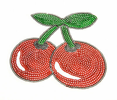 CHERRY RED Craft Sequin Embroidered Patch Sew Iron-On Patch Ready Made New
