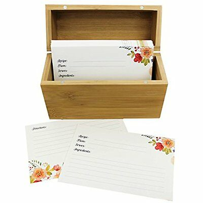 Bamboo Recipe Box Set 100 Recipe Cards & 10 Blank Dividers Holds Up To 200, 4x6
