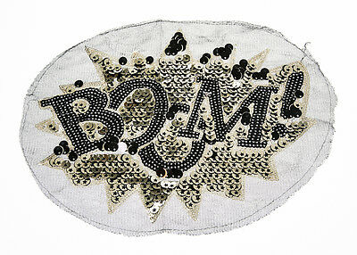 BOMB TEXT Craft Sequin Embroidered Patch Sew Iron-On Patch D.I.Y. New