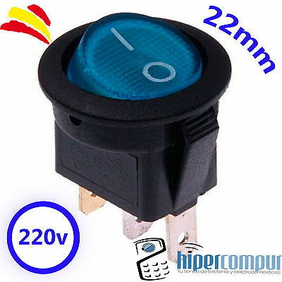 Interruptor 220v AZUL REDONDO luz on / off SPDT 125v 250v 230v panel empotrable
