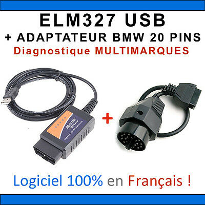 Interface ELM327 USB + ADAPTATEUR BMW 20 broches - Valise DIAG Multimarques OBD2