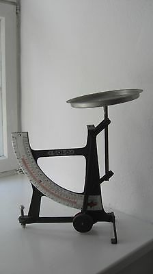 "Antike grosse Art Deco Bauhaus Briefwaage "" Solo "" Waage bis 3kg. Emaille Scala"
