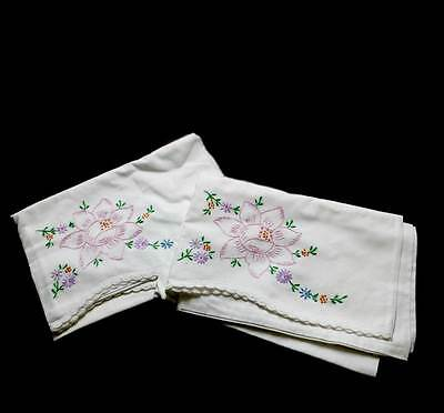 Exquisite vintage embroidered floral pair of cotton pillowcases