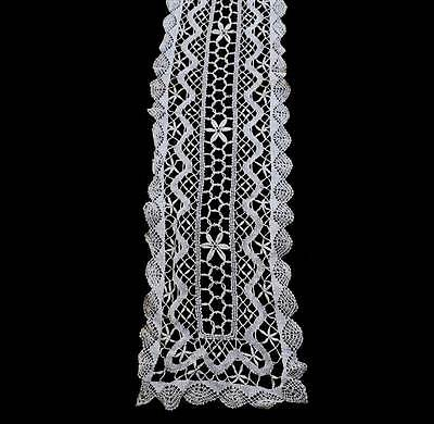 Vintage cream lace long table runner centrepiece measuring 102cm long