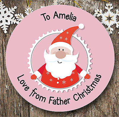 24 Personalised Christmas Stickers   Pink
