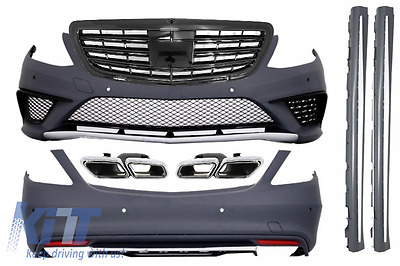 Mercedes W222 13+ S63 AMG Look BodyKit Grille Black+Bumper PDC+Exhaust Tips