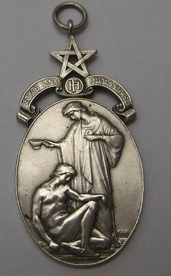 Masonic Silver Large Pendant Fob Stamped Lots of Detail W37.8g Solid Silver