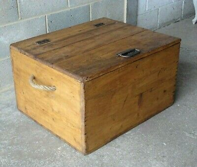 Vintage Antique French Rustic Old Pine Chest Box Trunk Coffee Table Rope Handles