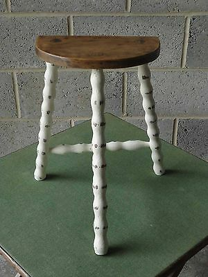 Vintage Painted Shabby Chic 3 Bobbin Legged French Elm Half Moon Seat Stool